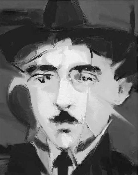 Fernando Pessoa em pintura de Bottelho.